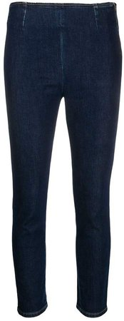 cropped zip-up skinny jeans