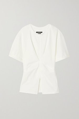 Soyona Ruched Cotton-jersey T-shirt - White