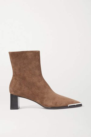 Mascha Embellished Suede Ankle Boots - Brown