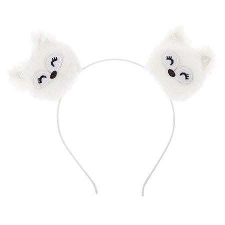 Hallie the Husky Pom Pom Ears Headband - White