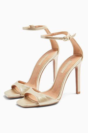 SILVY Gold Skinny Two Part Heel Sandals | Topshop
