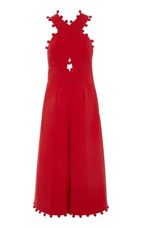 Oscar de la Renta Exclusive Pom-Pom-Trimmed Cotton-Blend Halter Jumpsuit