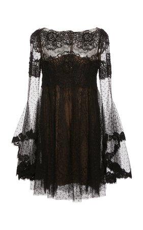 Point D'Espirit Tulle and Lace Mini Dress by Marchesa | Moda Operandi