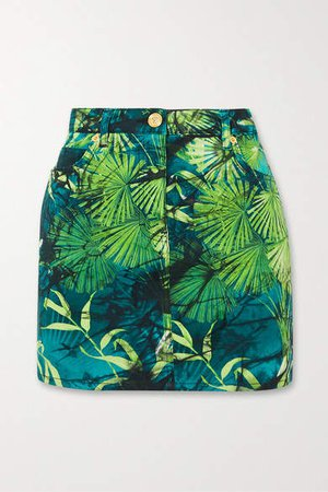 Printed Denim Mini Skirt - Green