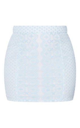 Dusty Blue Crochet Mini Skirt | Co-Ords | PrettyLittleThing