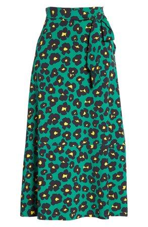 La DoubleJ Leopard Floral Print Midi Skirt | Nordstrom