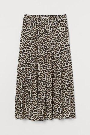 Calf-length skirt - Beige/Leopard print - Ladies   H&M