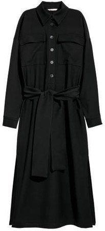 Shirt Dress with Tie Belt - Black