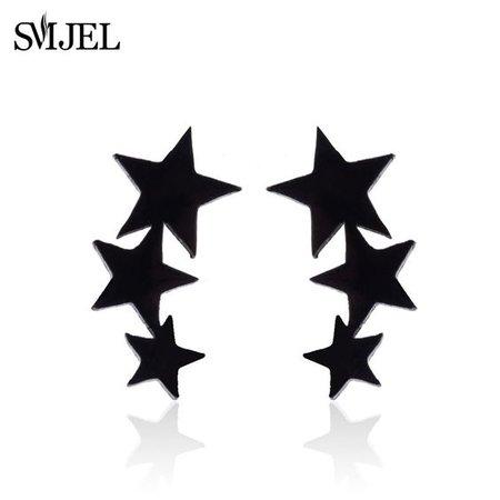 $17.59 · Smjel 3 star earrings black stainless steel stud earrings punk sky star jewelry earring oorbellen brincos
