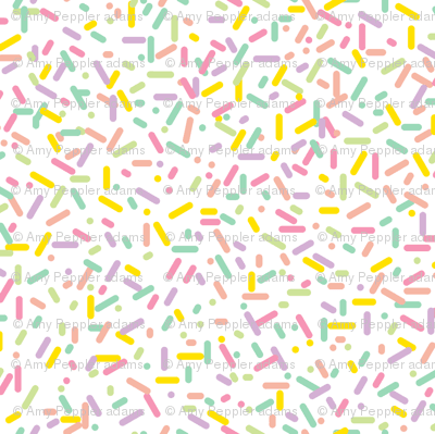Sprinkled (Vanilla) || sprinkles cupcake donut doughnut dessert sweets ice cream scatter baby nursery children kids pastel fabric - pennycandy - Spoonflower