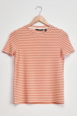 Vero Moda Kiri Top - Orange Striped Tee - Lettuce-Edge T-Shirt