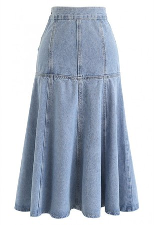 Frill Hem Buttoned Denim Skirt - NEW ARRIVALS - Retro, Indie and Unique Fashion