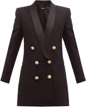 Double Breasted Crepe Blazer Dress - Womens - Black