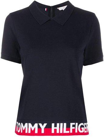 Logo Striped-Hem polo shirt