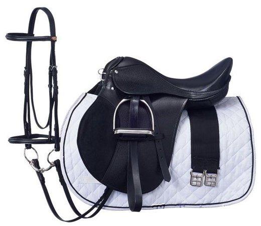 14 Inch All Purpose Black English Saddle Package (Regular Tree) 5 Yr Warranty #SilverFox5YearWarranty   Equestrian outfits, English saddle, Horse saddles