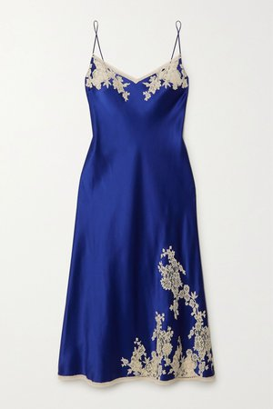 Blue Lace-trimmed silk-satin chemise | Carine Gilson | NET-A-PORTER