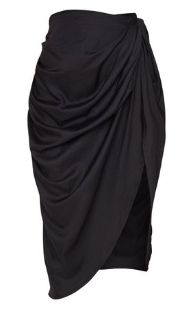 Black Ruched Side Midi Skirt | Skirts | PrettyLittleThing