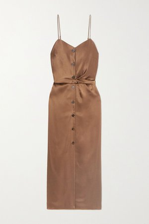 Brown Sayan belted satin midi dress | Nanushka | NET-A-PORTER