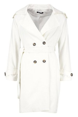 Belted Double Breasted Wool Look Trench Coat   Boohoo white