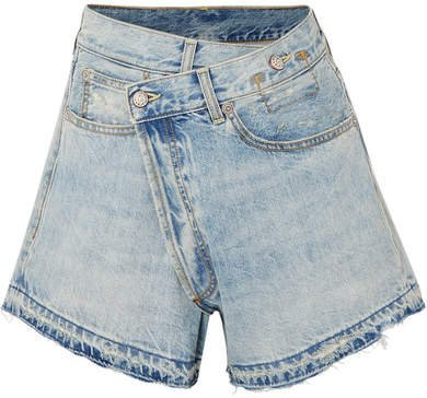 Denim Wrap Shorts - Mid denim