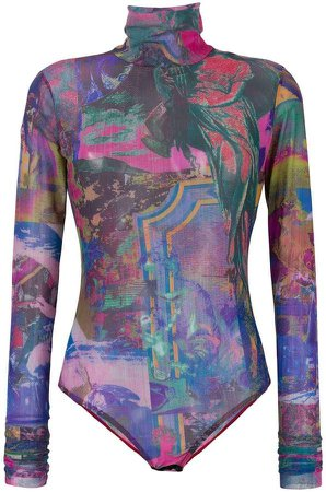 printed turtleneck bodysuit