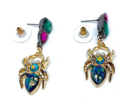 Betsey Johnson Rhinestone Spider Stud/Drop Earrings: Clothing