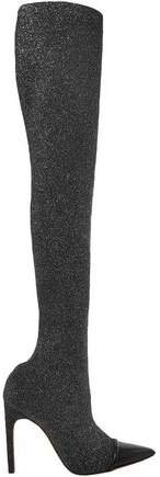 Leather-trimmed Lurex Thigh Boots