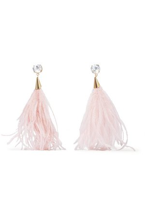 Rosantica | Revolution feather, crystal and gold-tone clip earrings | NET-A-PORTER.COM