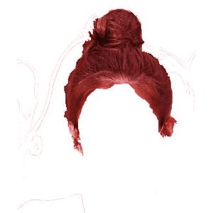 red hair bun edit png