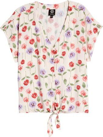 Floral Print Tie Front Top