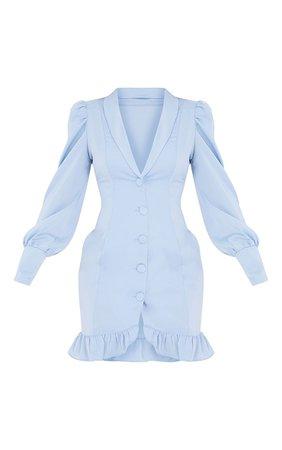 Baby Blue Button Cuff Frill Hem Blazer Dress   PrettyLittleThing USA