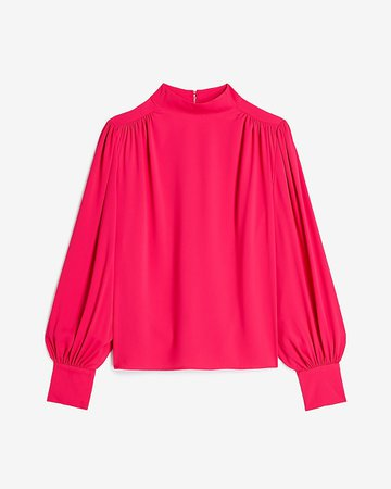 Mock Neck Balloon Sleeve Top | Express