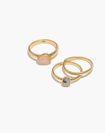 Semiprecious Shapes Ring Set