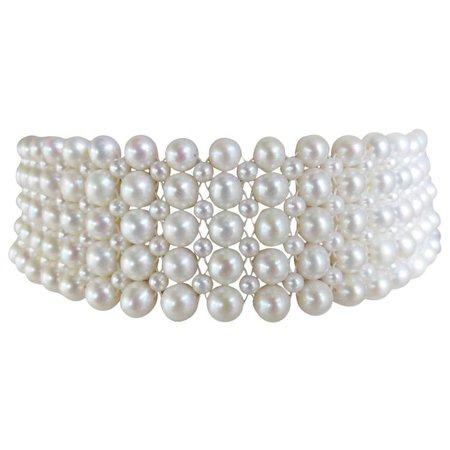 Marina J Multi-Strand Woven Pearl Choker For Sale at 1stdibs
