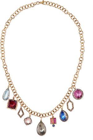 Larkspur & Hawk   Lady Emily 14-karat gold and rhodium-dipped multi-stone necklace   NET-A-PORTER.COM