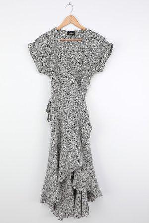 White Print Dress - Wrap Dress - Midi Dress - Ruffled Dress - Lulus