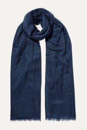 Navy Fringed cashmere scarf | Loro Piana | NET-A-PORTER