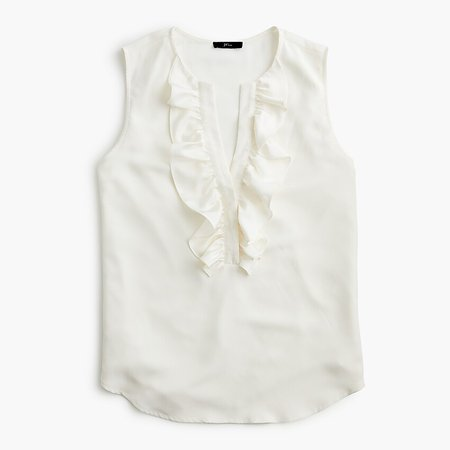 J.Crew: Ruffle-front Top In Satin Crepe