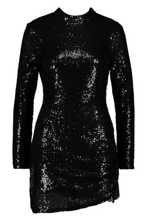Sequin High Neck Lace Insert Mini | Boohoo
