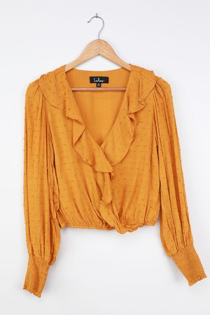 Mustard Yellow Top - Long Sleeve Top - Ruffled Long Sleeve Top