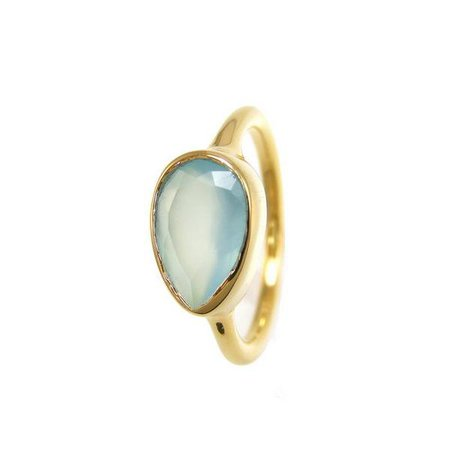 Aqua Seafoam Chalcedony Gold rings - Tear Drop Stackable Bezel rings - – Urban Carats