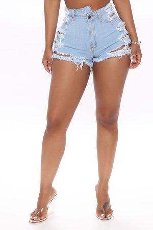 Denim Shorts - Light Blue Wash - Jean Shorts