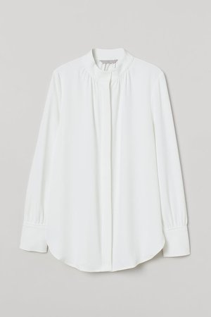 Stand-up Collar Blouse - White