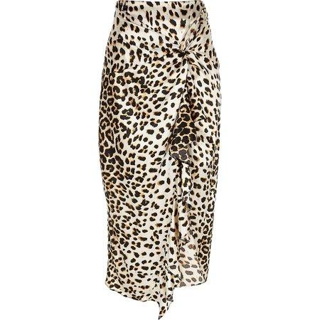 Beige leopard print twisted satin midi skirt | River Island