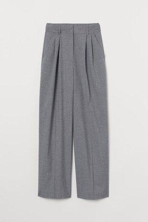 Wide-leg Suit Pants - Gray
