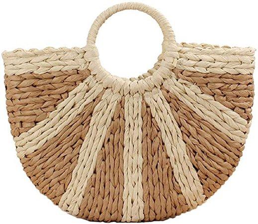 Teeya Straw Crossbody Bag Women Weave Shoulder Bag Round Summer Beach Purse and Handbags, Khaki, Medium: Handbags: Amazon.com