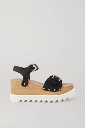 Elyse Studded Vegetarian Leather Platform Sandals - Black
