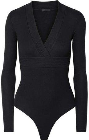 Wrap-effect Ribbed Stretch-micro Modal Thong Bodysuit - Black