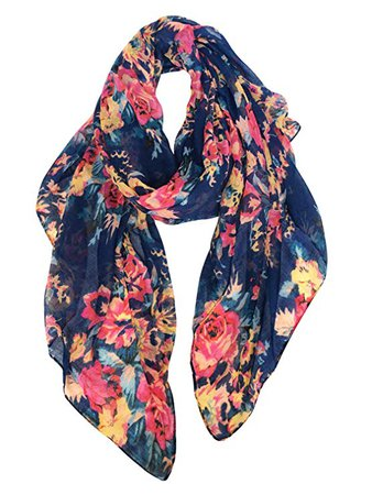 GERINLY Spring floral Scarfs for Women Flowers Print Headwraps Soft Hijab (Blue) at Amazon Women's Clothing store:
