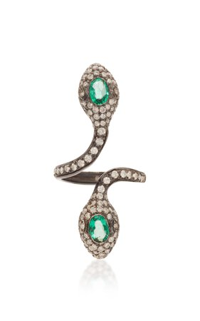 Colette Jewelry Earth Double-Headed Snake 18K Black Gold Ring